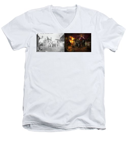 Men's V-Neck T-Shirt featuring the photograph War - Wwi -  Not Fit For Man Or Beast 1910 - Side By Side by Mike Savad