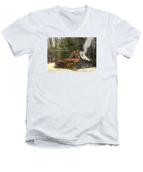 Men's V-Neck T-Shirt featuring the photograph Warmest Wishes For The Holiday Season Greeting Card by Betty Denise