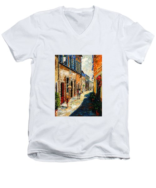 Warmth Of A Barcelona Street Men's V-Neck T-Shirt by Andre Dluhos