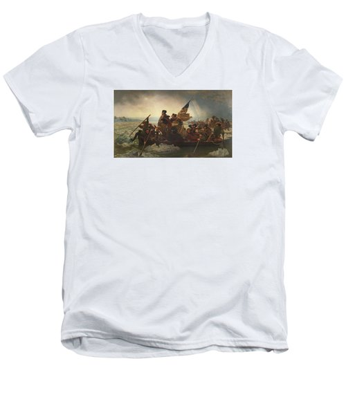 Washington Crossing The Delaware Men's V-Neck T-Shirt by War Is Hell Store