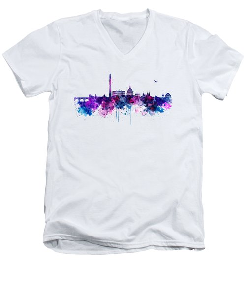 Washington Dc Skyline Men's V-Neck T-Shirt by Marian Voicu