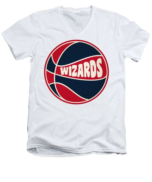 Men's V-Neck T-Shirt featuring the photograph Washington Wizards Retro Shirt by Joe Hamilton