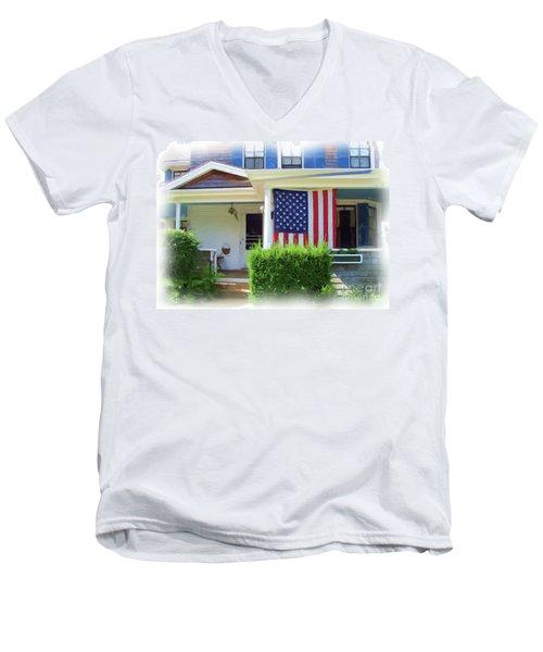 Watch Hill Ri Cottage Men's V-Neck T-Shirt by Joan Hartenstein