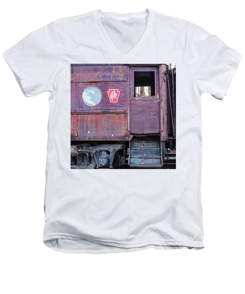 Men's V-Neck T-Shirt featuring the photograph Watch Your Step Vintage Railroad Car by Terry DeLuco