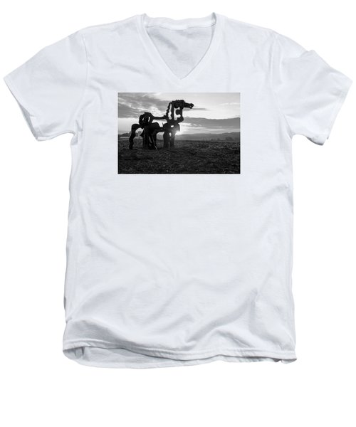 Watchful The Iron Horse  Men's V-Neck T-Shirt by Reid Callaway