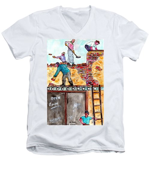 Watching Construction Workers Men's V-Neck T-Shirt