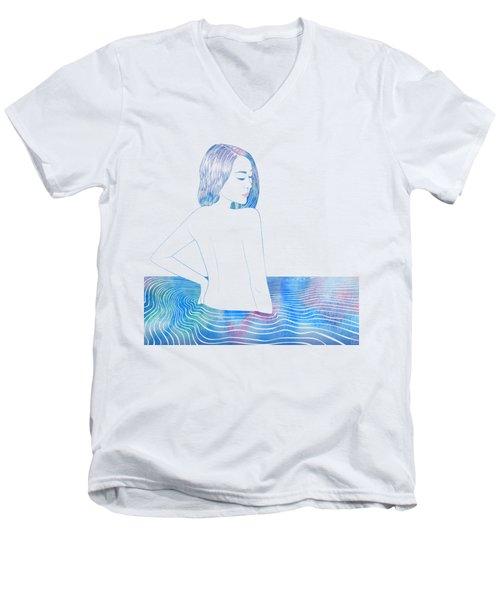 Water Nymph Lxxxiv Men's V-Neck T-Shirt by Stevyn Llewellyn