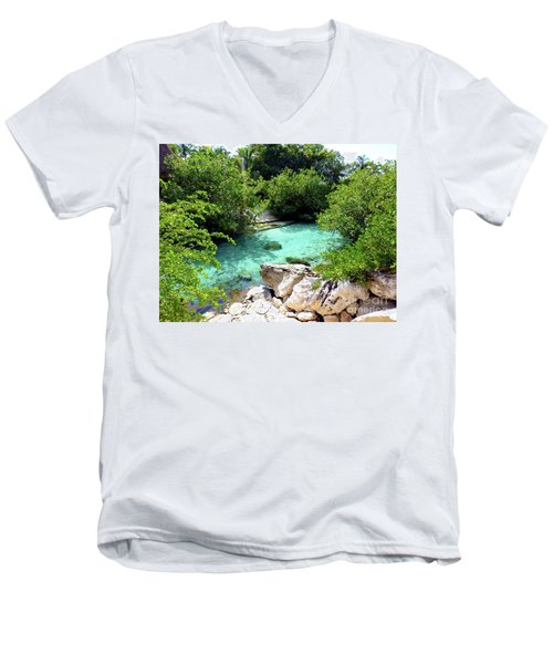 Men's V-Neck T-Shirt featuring the photograph Water Shallows by Francesca Mackenney