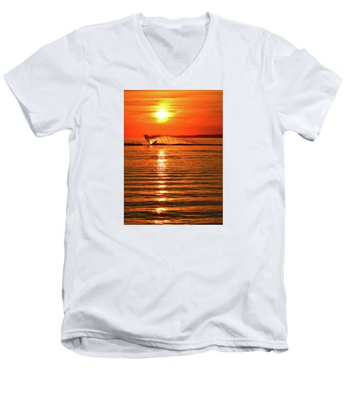 Water Skiing At Sunrise  Men's V-Neck T-Shirt