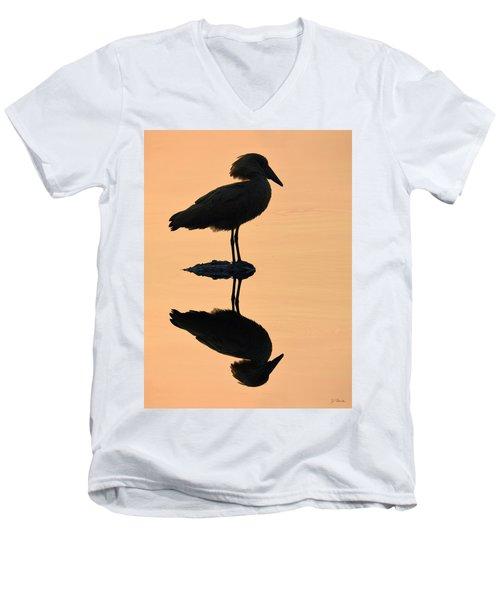 Waterbird Silhouette At Dusk Men's V-Neck T-Shirt by Joe Bonita