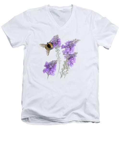 Watercolor Bumble Bee Men's V-Neck T-Shirt