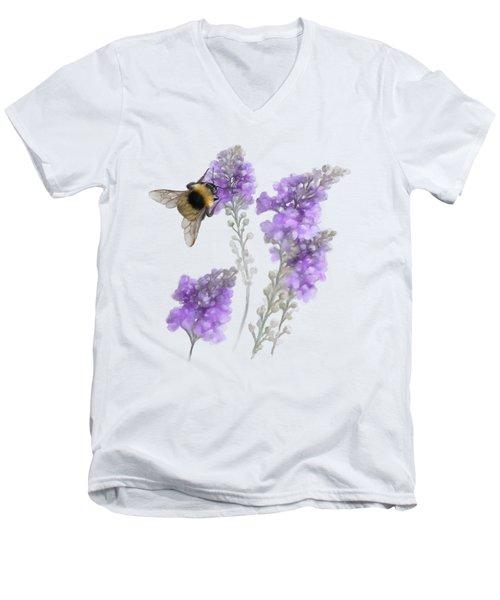 Watercolor Bumble Bee Men's V-Neck T-Shirt
