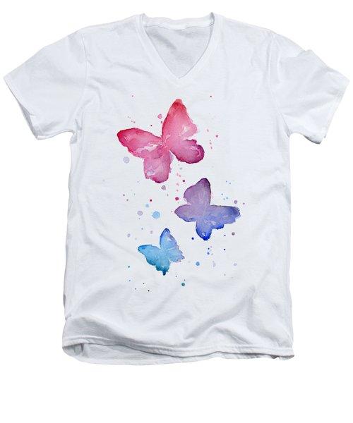 Watercolor Butterflies Men's V-Neck T-Shirt by Olga Shvartsur