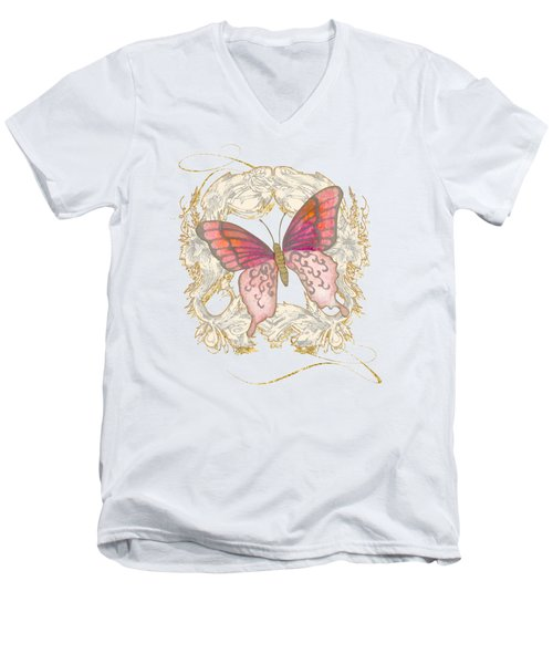Watercolor Butterfly With Vintage Swirl Scroll Flourishes Men's V-Neck T-Shirt by Audrey Jeanne Roberts