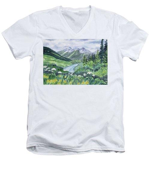 Watercolor - Colorado Summer Landscape Men's V-Neck T-Shirt