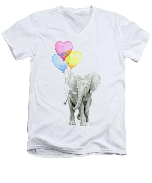 Watercolor Elephant With Heart Shaped Balloons Men's V-Neck T-Shirt by Olga Shvartsur