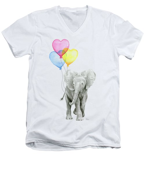 Watercolor Elephant With Heart Shaped Balloons Men's V-Neck T-Shirt