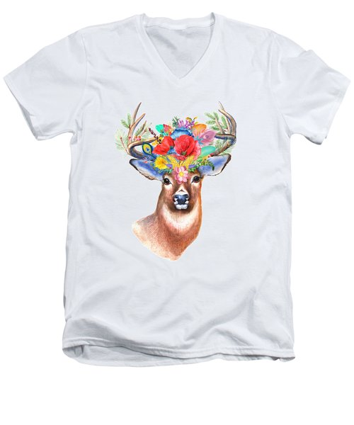 Watercolor Fairytale Stag With Crown Of Flowers Men's V-Neck T-Shirt by Modern Art