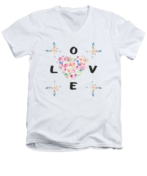 Men's V-Neck T-Shirt featuring the painting Watercolor Flowers Arrows Love Typography by Georgeta Blanaru