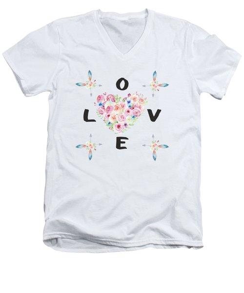 Watercolor Flowers Arrows Love Typography Men's V-Neck T-Shirt