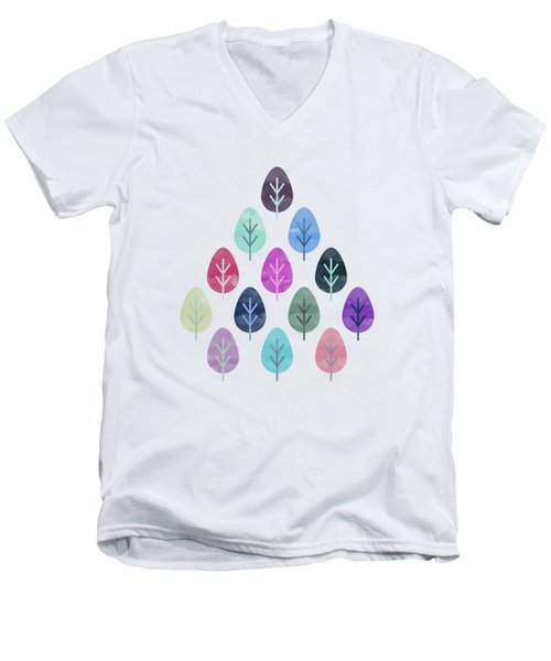 Watercolor Forest Pattern  Men's V-Neck T-Shirt