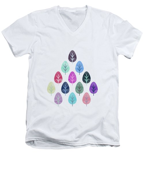 Watercolor Forest Pattern II Men's V-Neck T-Shirt