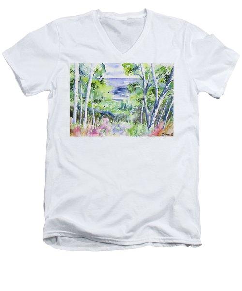 Watercolor - Lake Superior Impression Men's V-Neck T-Shirt