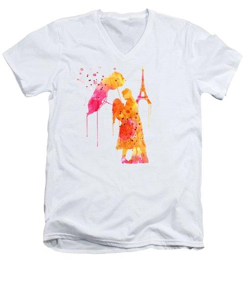 Watercolor Love Couple In Paris Men's V-Neck T-Shirt by Marian Voicu