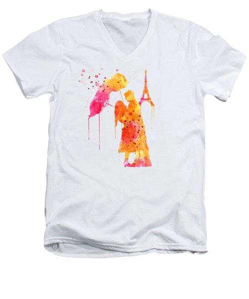 Watercolor Love Couple In Paris Men's V-Neck T-Shirt by Marian Voicu