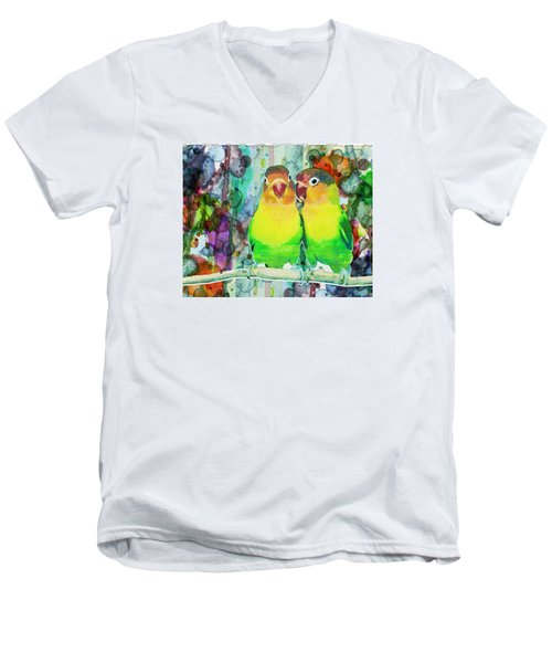 Watercolor Neon Parrots Bird Painting Watercolor Abstract Men's V-Neck T-Shirt