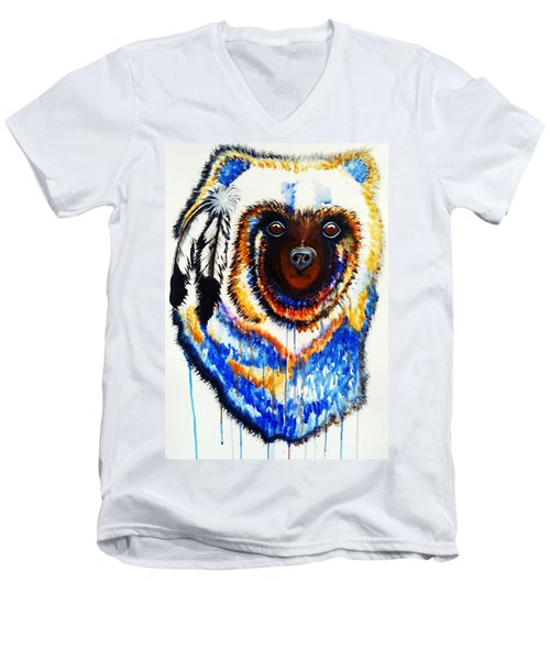 Men's V-Neck T-Shirt featuring the painting Watercolor Painting Of Spirit Of The Bear By Ayasha Loya by Ayasha Loya