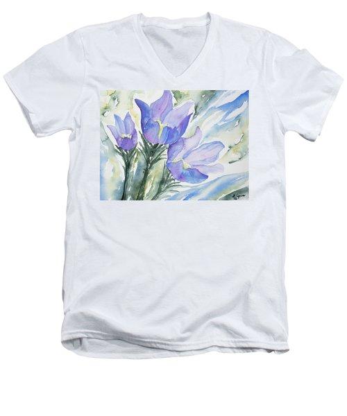 Watercolor - Pasque Flowers Men's V-Neck T-Shirt