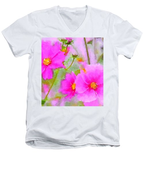 Men's V-Neck T-Shirt featuring the painting Watercolor Pink Cosmos by Bonnie Bruno