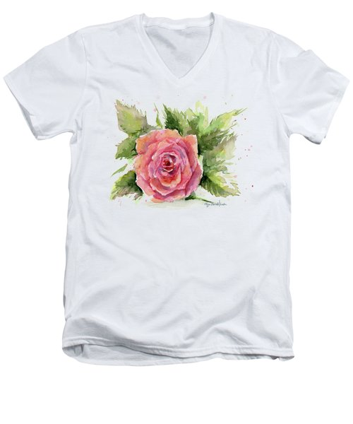 Watercolor Rose Men's V-Neck T-Shirt