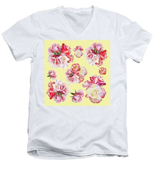 Men's V-Neck T-Shirt featuring the painting Watercolor Roses Golden Dance by Irina Sztukowski