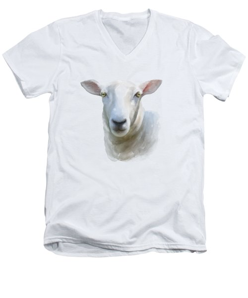 Watercolor Sheep Men's V-Neck T-Shirt