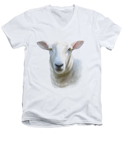 Men's V-Neck T-Shirt featuring the painting Watercolor Sheep by Ivana Westin
