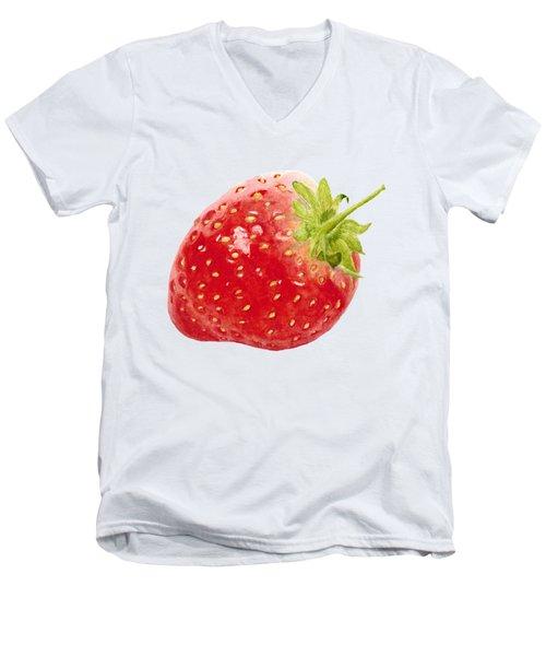 Watercolor Strawberry Men's V-Neck T-Shirt by Kathleen Skinner