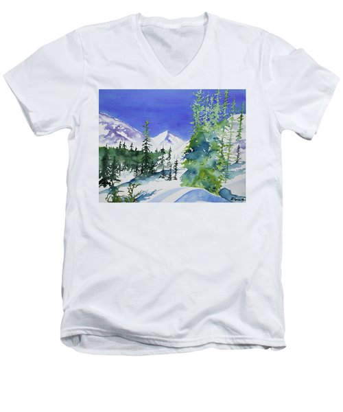 Watercolor - Sunny Winter Day In The Mountains Men's V-Neck T-Shirt
