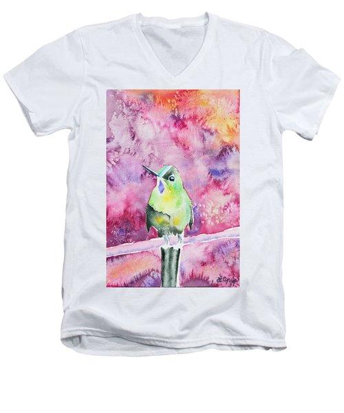 Watercolor - Violet-tailed Sylph Men's V-Neck T-Shirt