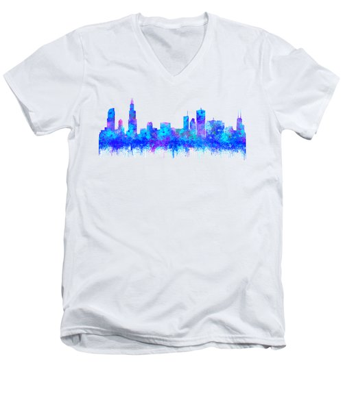 Watercolour Splashes And Dripping Effect Chicago Skyline Men's V-Neck T-Shirt