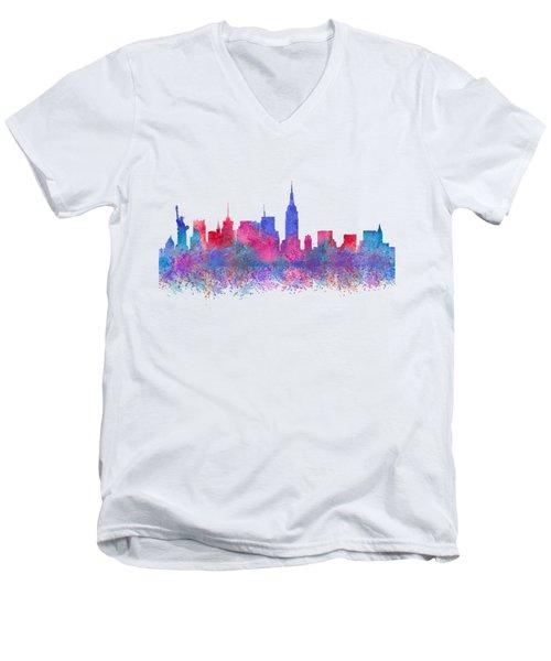 Watercolour Splashes New York City Skylines Men's V-Neck T-Shirt