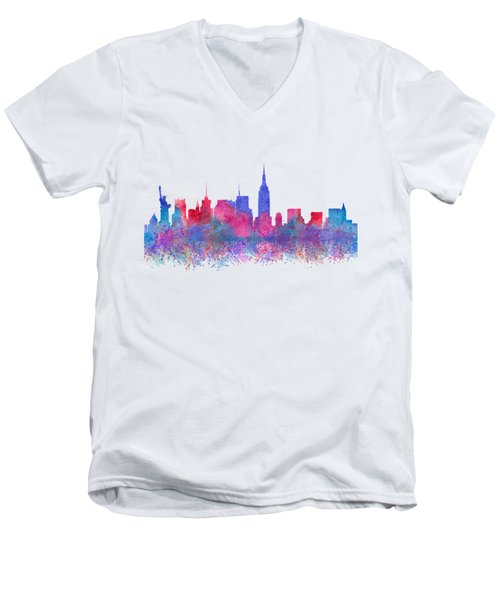 Watercolour Splashes New York City Skylines Men's V-Neck T-Shirt