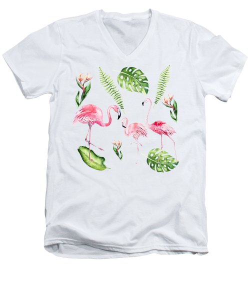 Men's V-Neck T-Shirt featuring the painting Watercolour Tropical Beauty Flamingo Family by Georgeta Blanaru