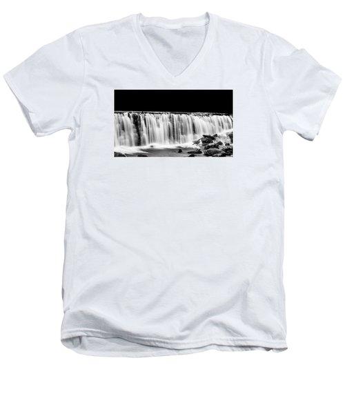 Waterfall At Night Men's V-Neck T-Shirt by Wayne King
