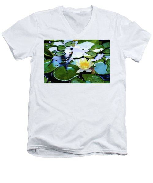 Waterlilly On Blue Pond Men's V-Neck T-Shirt
