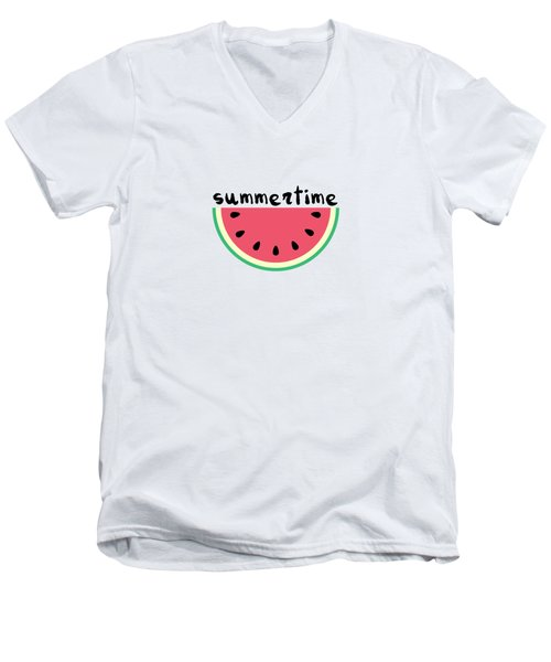 Watermelon Men's V-Neck T-Shirt by Alina Krysko