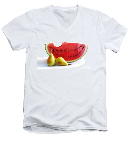 Watermelon And Pears Men's V-Neck T-Shirt by Carlos Caetano