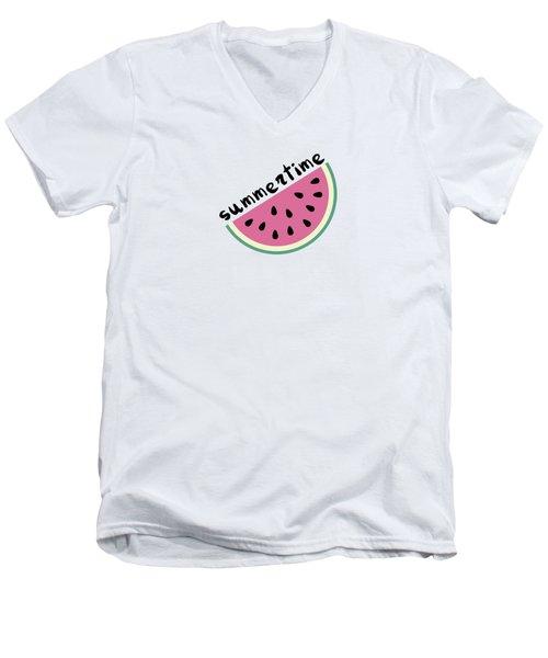 Watermelon Pattern Men's V-Neck T-Shirt by Alina Krysko