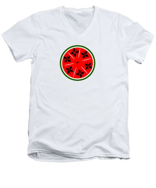 Watermelon Summer Men's V-Neck T-Shirt by Chastity Hoff